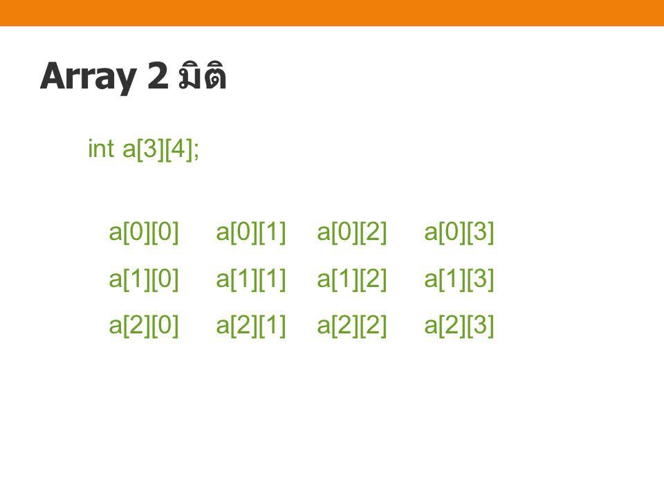 Array 2 มิติ int a[3][4]; a[0][0] a[0][1] a[0][2] a[0][3]